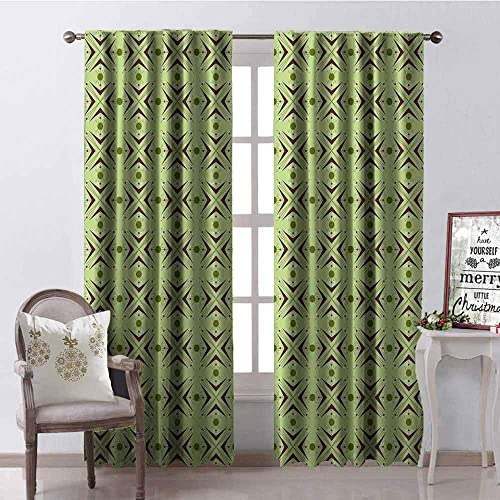 Tapesly Mid Century Heat Insulation Curtain Atomic Form with Boomerang Details Dots and Crossed Lines for Living Room or Bedroom W42 x L84 Inch Apple Green Plum Bondi Blue