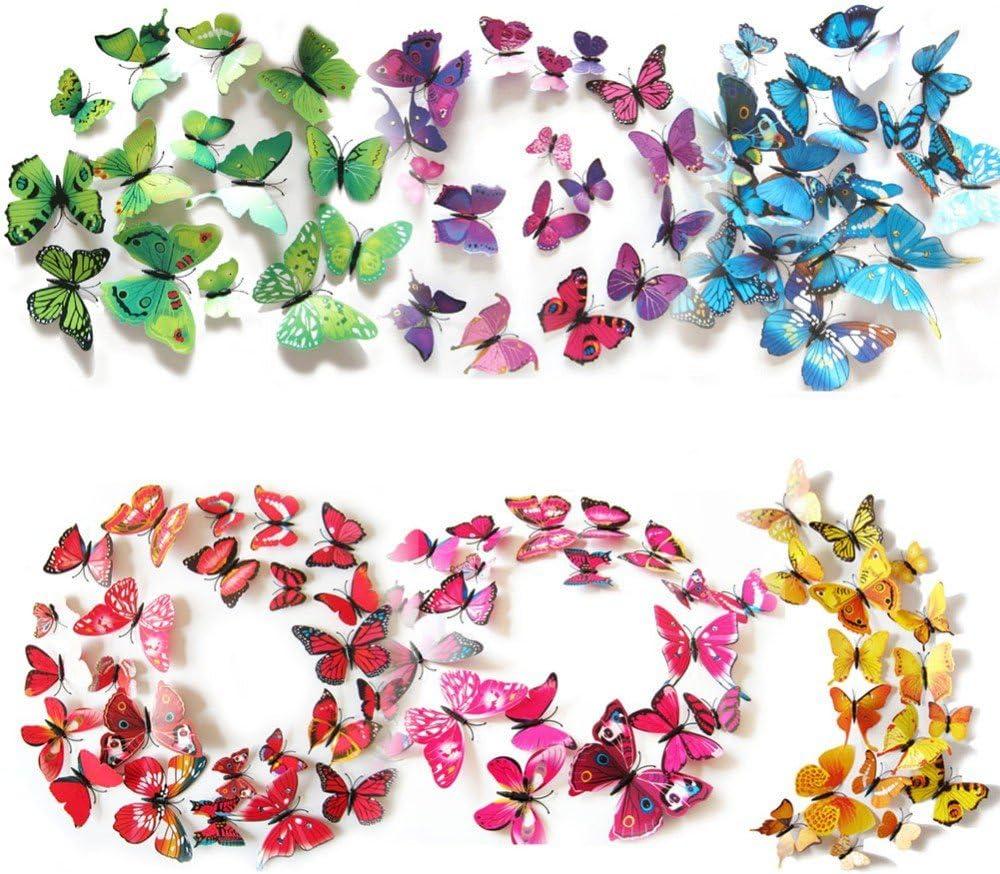 HaimoBurg 72 Piezas 3D Mariposa Pegatinas de Pared Etiquetas Engomadas Mariposas Decoración de la Pared Para Hogar Habitación Casa