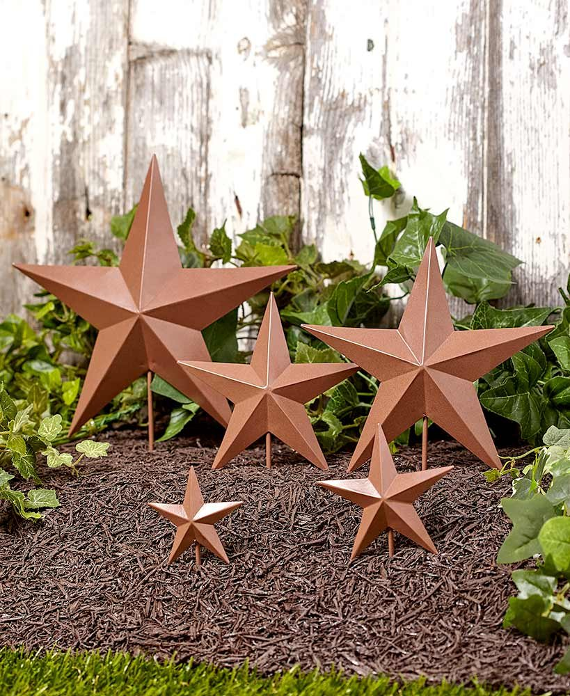 The Lakeside Collection Set of 5 Star Garden Stakes- Rustic