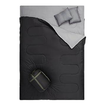 OtdAir Doble Saco de Dormir con Almohadas/2 Persona Impermeable Ligero portátil Saco de Dormir