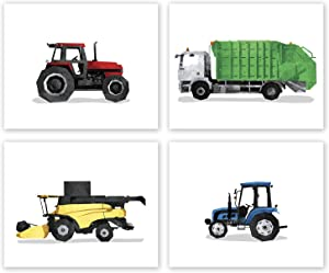 AtoZStudio Kids Bedroom Wall Decor - Set of 4 Prints // Garbage Truck // Combine // Tractor Nursery Art Posters // Party Decoration // Boy Playroom Picture // Transportation Farm (8x10, Set 4 Gar)