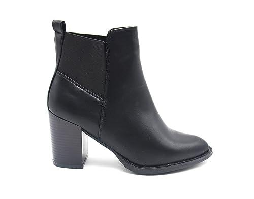 shf79 * Botines Boots de tacón cuadrado piel sintética Uni con redondeada y banda tejido elástico