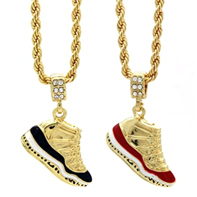 Mens gold plated hip hop retro 11 concord cherry pendants 4mm mens gold plated hip hop retro 11 concord cherry pendants 4mm 24 rope chain amazon aloadofball Choice Image