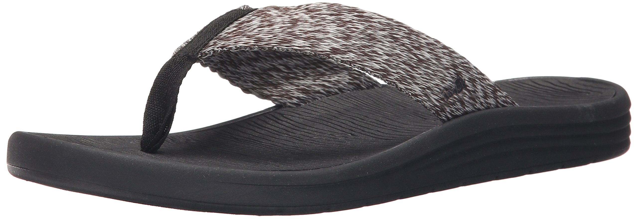 Sanuk Men's Compass Webbing Flip Flop, Black/Charcoal/Grey, 14 M US