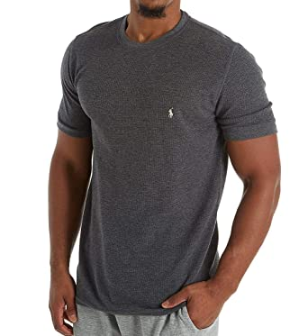 8b30ec2cef Polo Ralph Lauren Lightweight Waffle Short Sleeve Crew Sleep Shirt (PW56FR)  S Charcoal Heather at Amazon Men s Clothing store