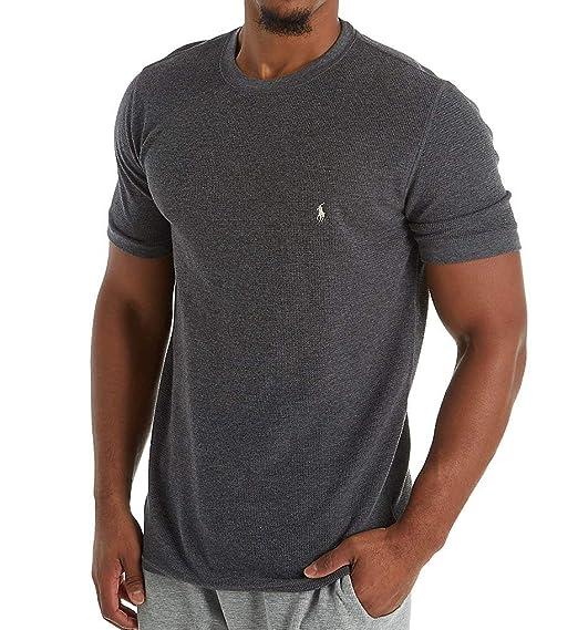 Polo Ralph Lauren Mens Waffle Knit Short Sleeve T Shirt (2X Large, Charcoal  Heather 48a41991b429