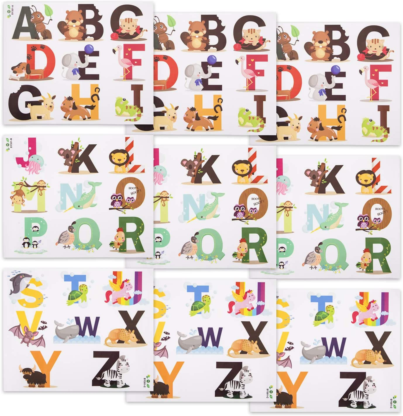 Suwimut 78 Pieces Alphabet Wall Decals, Removable Wall Stickers Peel and Stick for Kids Bedroom Living Room Decor