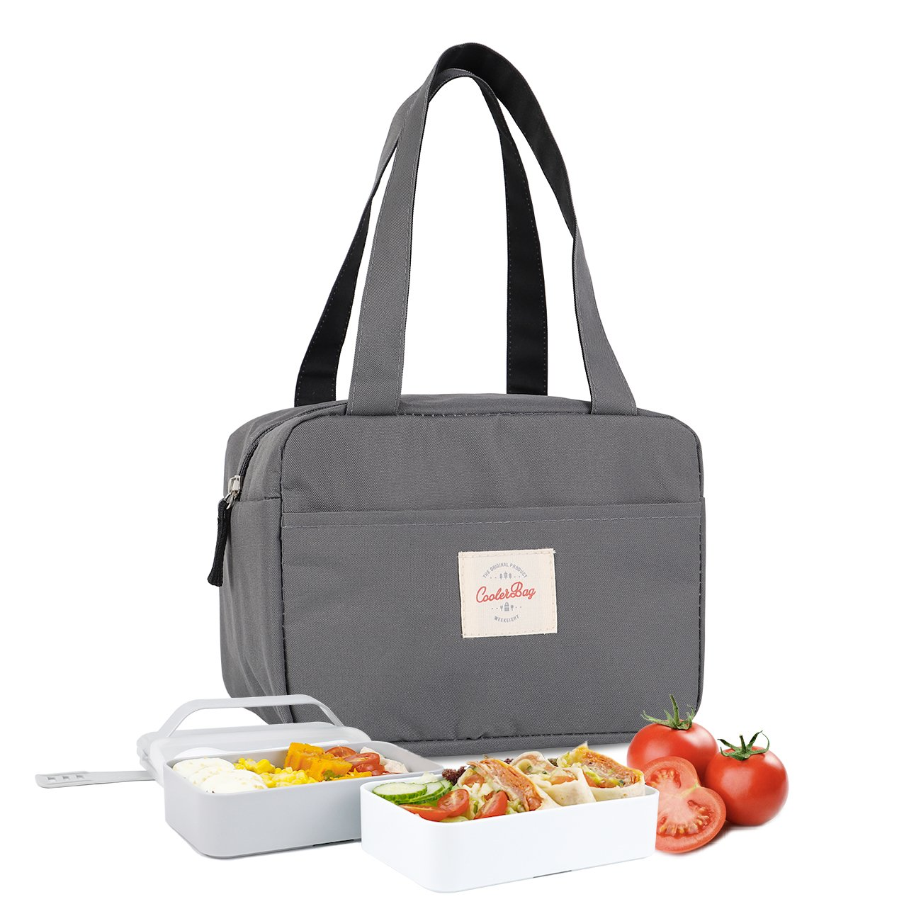 Buringer Soft Insulated Lunch Bag Tote, Cooler Lunch Box for Women & Men, Portable Thermal Insulated Cooler Bag Mini Lunch Bag for Adults & Kids - Dark Grey