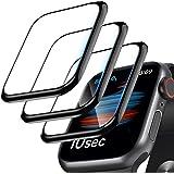 [Pacote com 3] Protetor de tela para Apple Watch Series 6/SE/5/4 44 mm, borda curvada 3D, antiarranhões, sem bolhas, HD Ultra