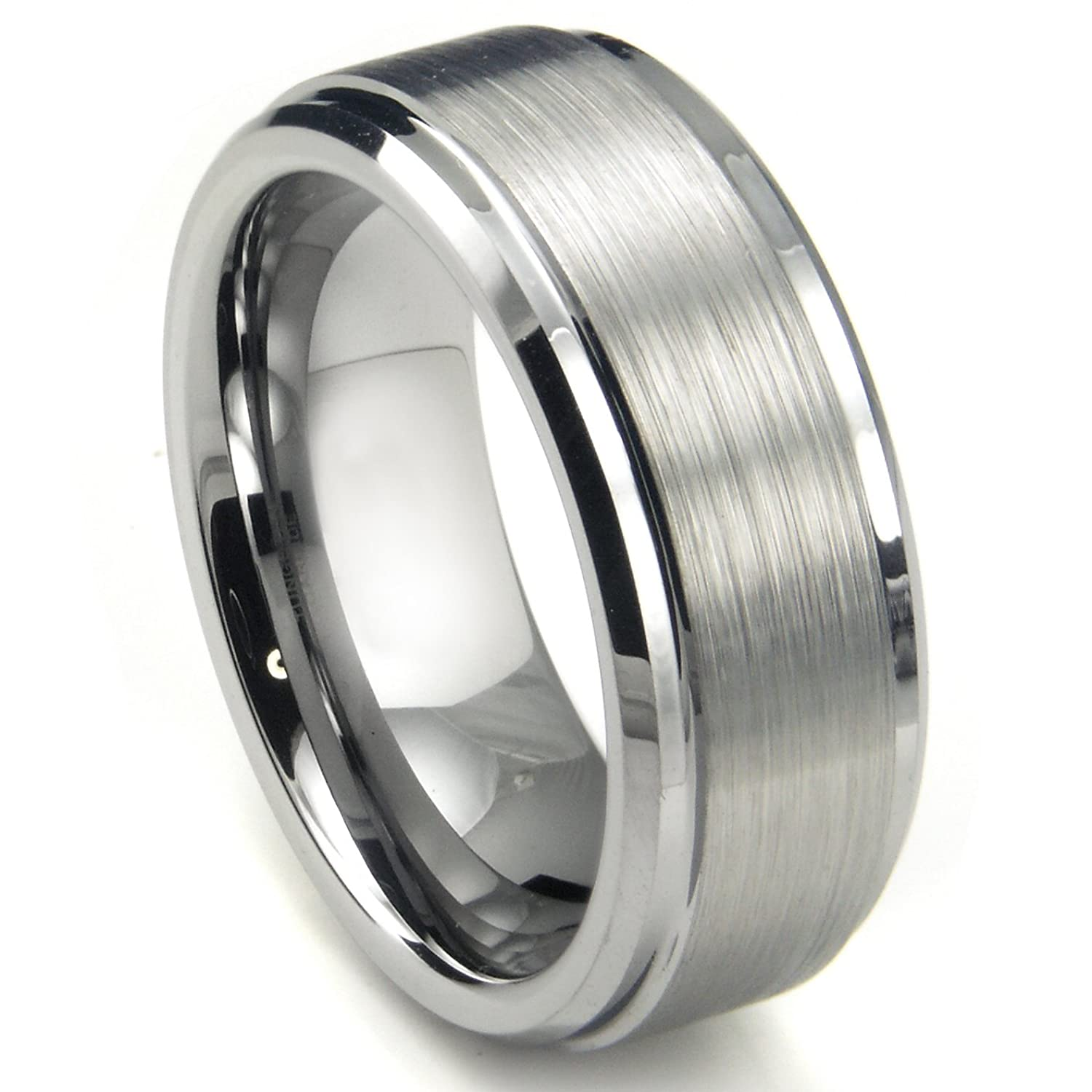 8MM High Polish Matte Finish Mens Tungsten Ring Wedding Band