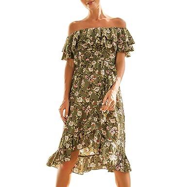 36c35f22275118 Women s Chiffon Dress Sexy Off Shoulder Ruffle Short Sleeve Floral Print  Irregular Beach Midi Dress