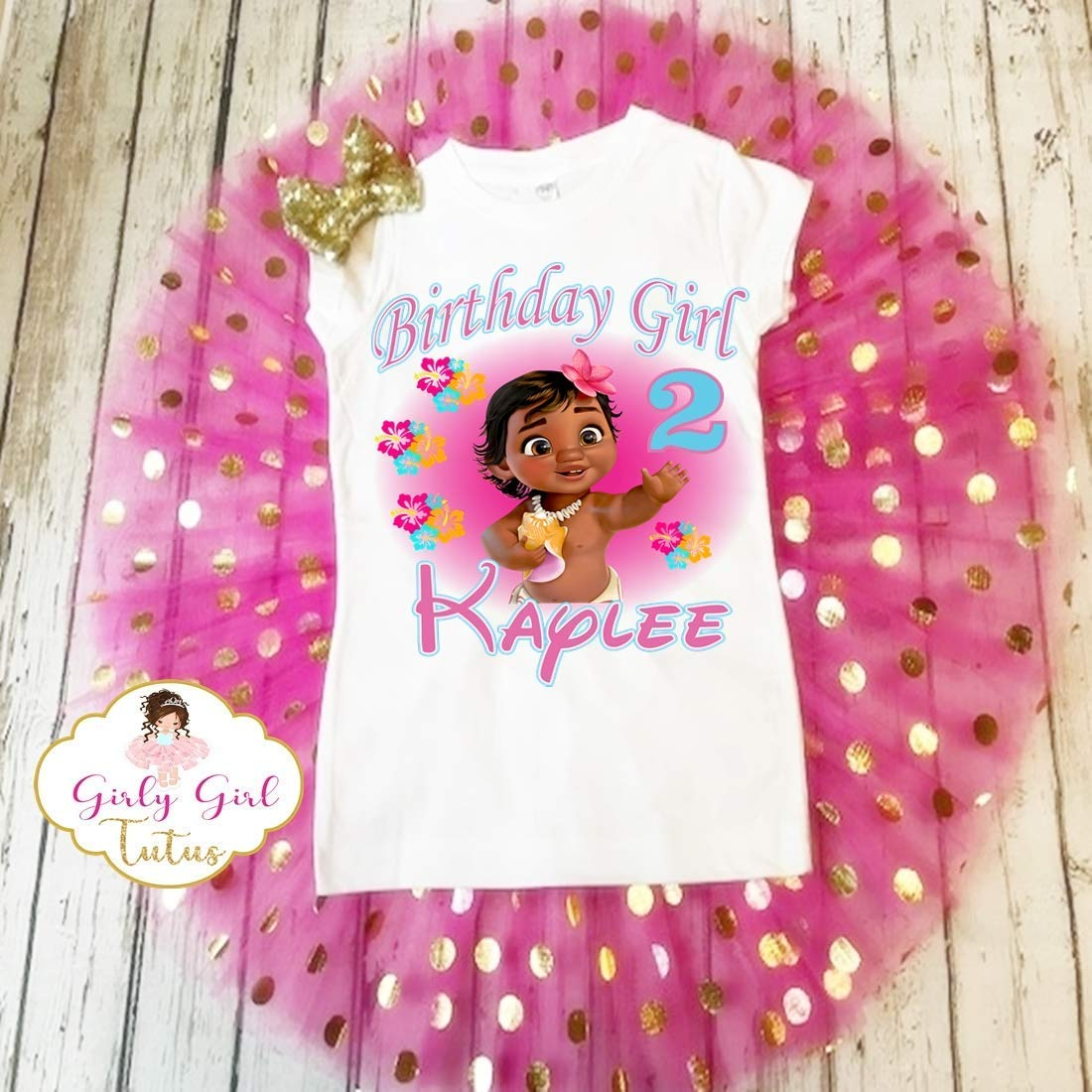 Baby Moana Girls Personalised Birthday t-shirt Ideal Gift Present