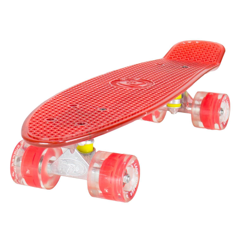 LAND SURFER® Skateboard Cruiser Retro Completo 56cm con tabla coloreada transparente - cojinetes ABEC-7 - Ruedas que se iluminan 59mm PU + bolsa para el ...