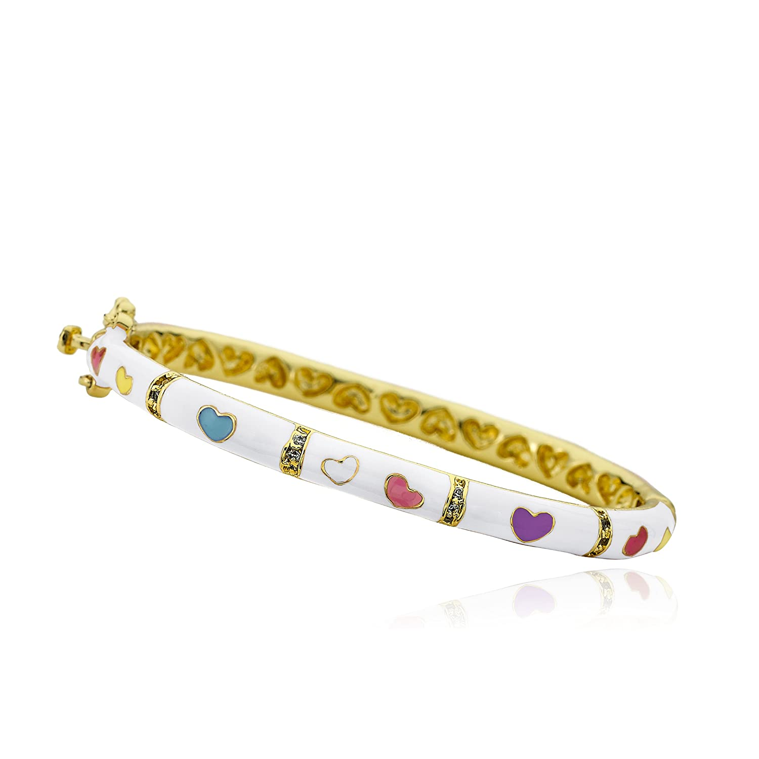 Little Miss Twin Stars Outfit Makers 14k Gold-Plated Pink Oval Bangle With Multi Color Hearts /& CZ Lines