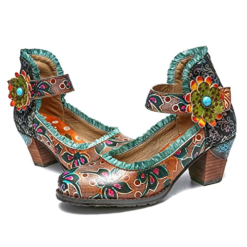 44d4eecdd4e gracosy Womens Pumps Shoes Mid Block Heel Mary Jane Slip On Ladies Soft  Leather Pumps Court Shoes Bohemian Handmade Flowers Vintage Party Dress  Casual ...