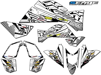 Shredder Black Graphics Kit with art filled number plates Senge Graphics Kit compatible with Yamaha All Years Raptor 250