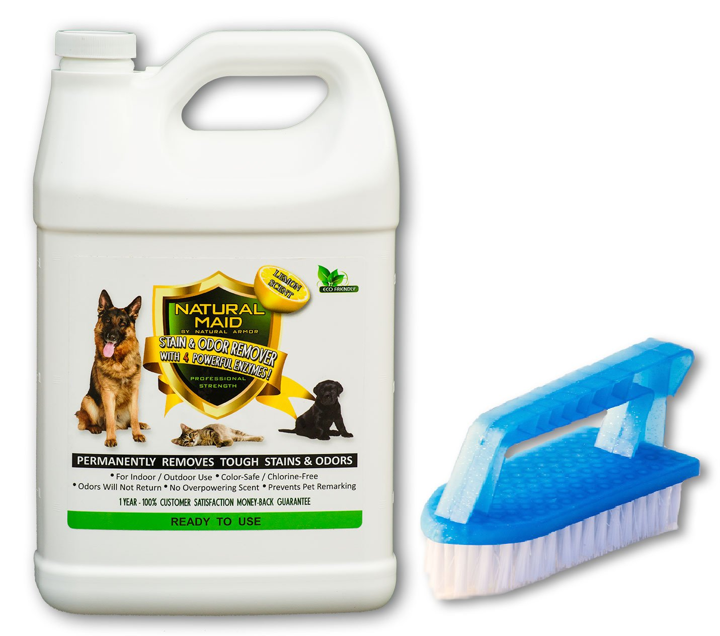 Natural Maid Professional Strength Pet Stain & Odor Remover & Eliminator with 4 Powerful Enzymes - Lemon Scent 128 Ounce Gallon Ready To Use Multi Surface Cleaner
