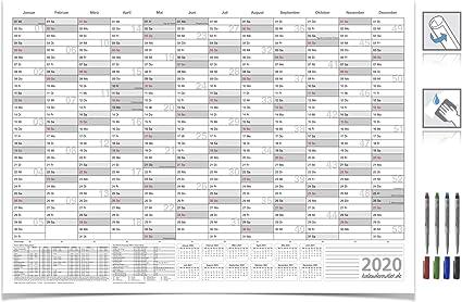 Calendario de pared/planificador anual 2019 con vacaciones lavable ...