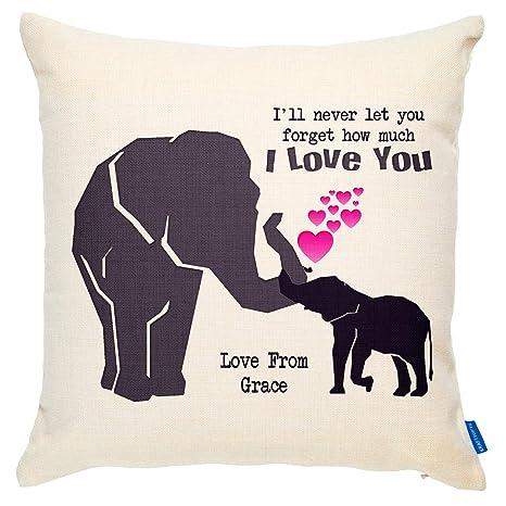 Personalizado elefante Mamá cojín personalizado dispersión ...