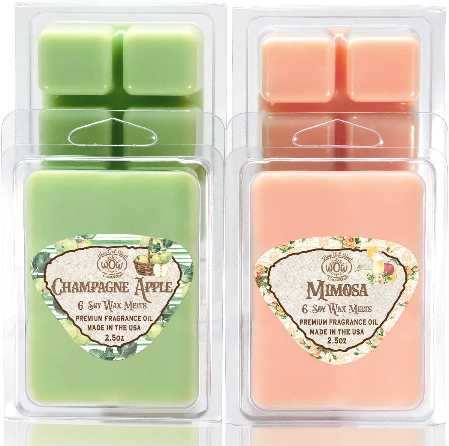 Way Out West Candles Scented Wax Melts for Wax Warmers - Highly Fragrant Air Freshener - 4 Pack Assorted Set of 6 Melt Cubes - Made in USA (4, Mimosa & Champagne Apple)