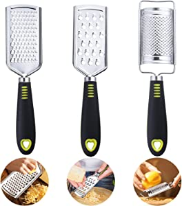 3 Pieces Stainless Steel Cheese Grater Handheld Lemon Zester Multi-purpose Kitchen Food Grater for Cheese, Chocolate, Butter, Fruit and Vegetable