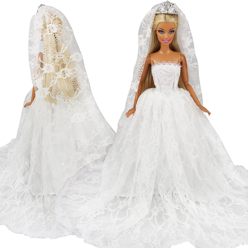 daa7c256b84b Amazon.com  BARWA White Wedding Dress with Long Veil Evening Party Princess White  Lace Gown Dress for 11.5 Inch Girl Doll  Toys   Games