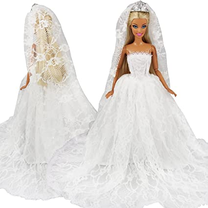 9f4db74a4715 Amazon.com  BARWA White Wedding Dress with Long Veil Evening Party ...