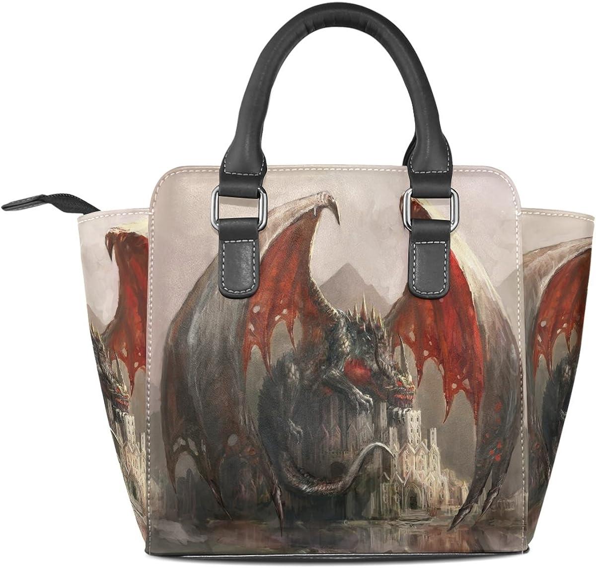 Jennifer Lazy Dragon Sleeping Castle PU Leather Top-Handle Handbags Single-Shoulder Tote Crossbody Bag Messenger Bags For Women