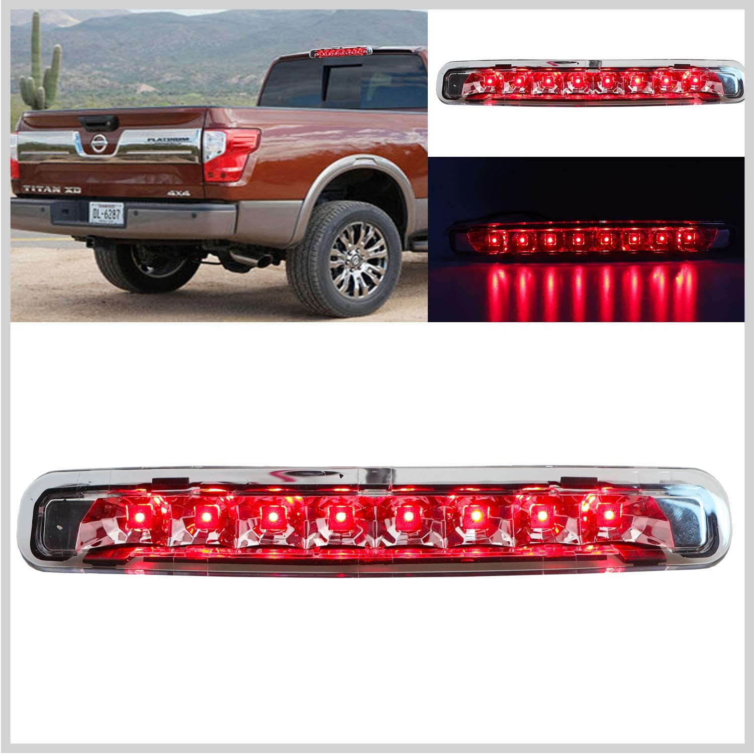 OCPTY High Mount Brake Light LED 3rd Light Clear Lens Rear Roof Light Replacement fit for 2013-2018 Ford Escape
