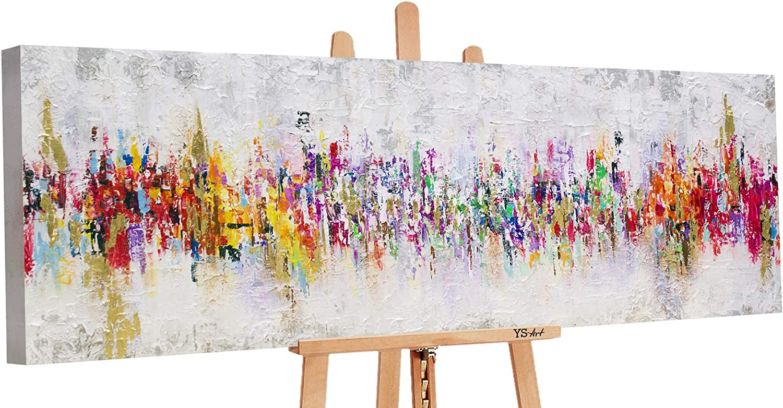 YS-Art Premium | Cuadro Pintado a Mano Abstraktion II | Cuadro Moderno acrilico | 150x50 cm | Lienzo Pintado a Mano | Cuadros Dormitories | único | único | PS021