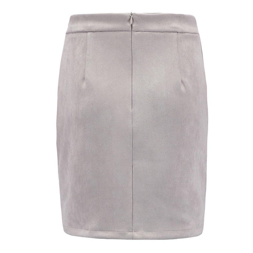 iZHH Women Tight Short Skirt Suede Fabric Mini Skirt Slim Seamless Stretch