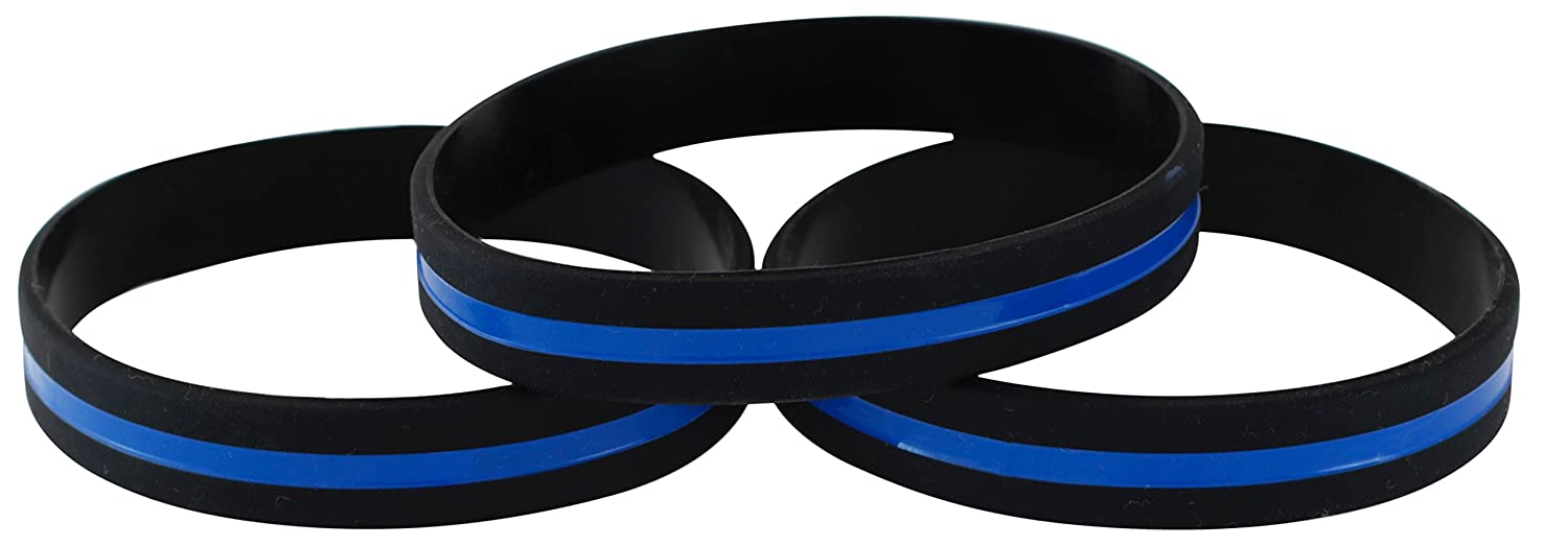 Emblematic Jewelry Police Officers Patrol Awareness Support Thin Blue Line Silicone Wristband Bracelets Value Pack A7