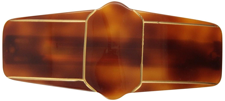 Caravan Deluxe Tortoise Shell Barrette with Gold Geometric 5072