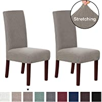 Stretch Dining Chair Slipcovers Jacquard Removable Washable Kitchen Parson Chair Protector Cover Seat Slipcover for Hotel,Dining Room,Ceremony,Banquet Wedding Party Set of 2, Taupe