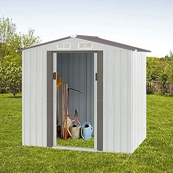 4 × 6 pies de almacenamiento exterior cobertizo herramienta casa jardín acero cobertizo Walk-in: Amazon.es: Bricolaje y herramientas