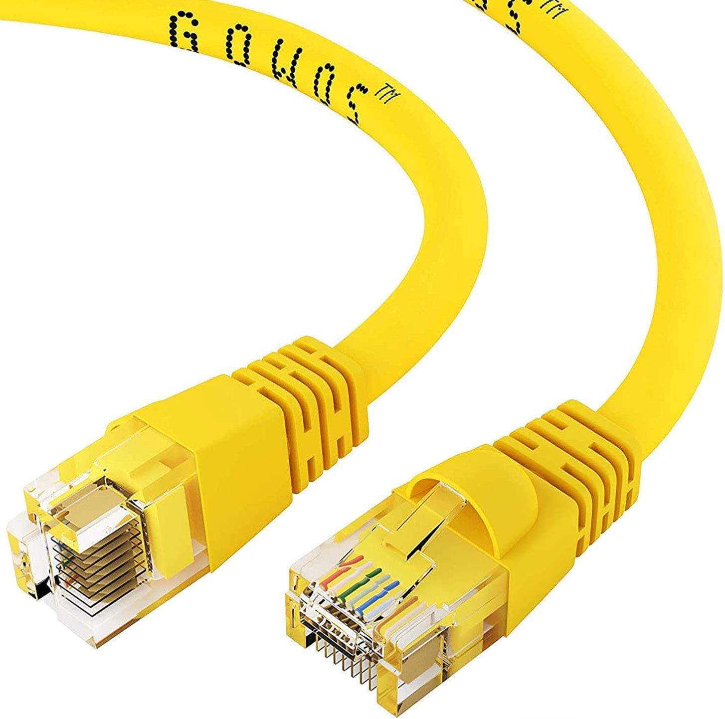 350MHz 1Gigabit//Sec High Speed LAN Internet//Patch Cable 24AWG Network Cable with Gold Plated RJ45 Non-Booted Connector Yellow 20-Pack - 12 Feet GOWOS Cat5e Ethernet Cable
