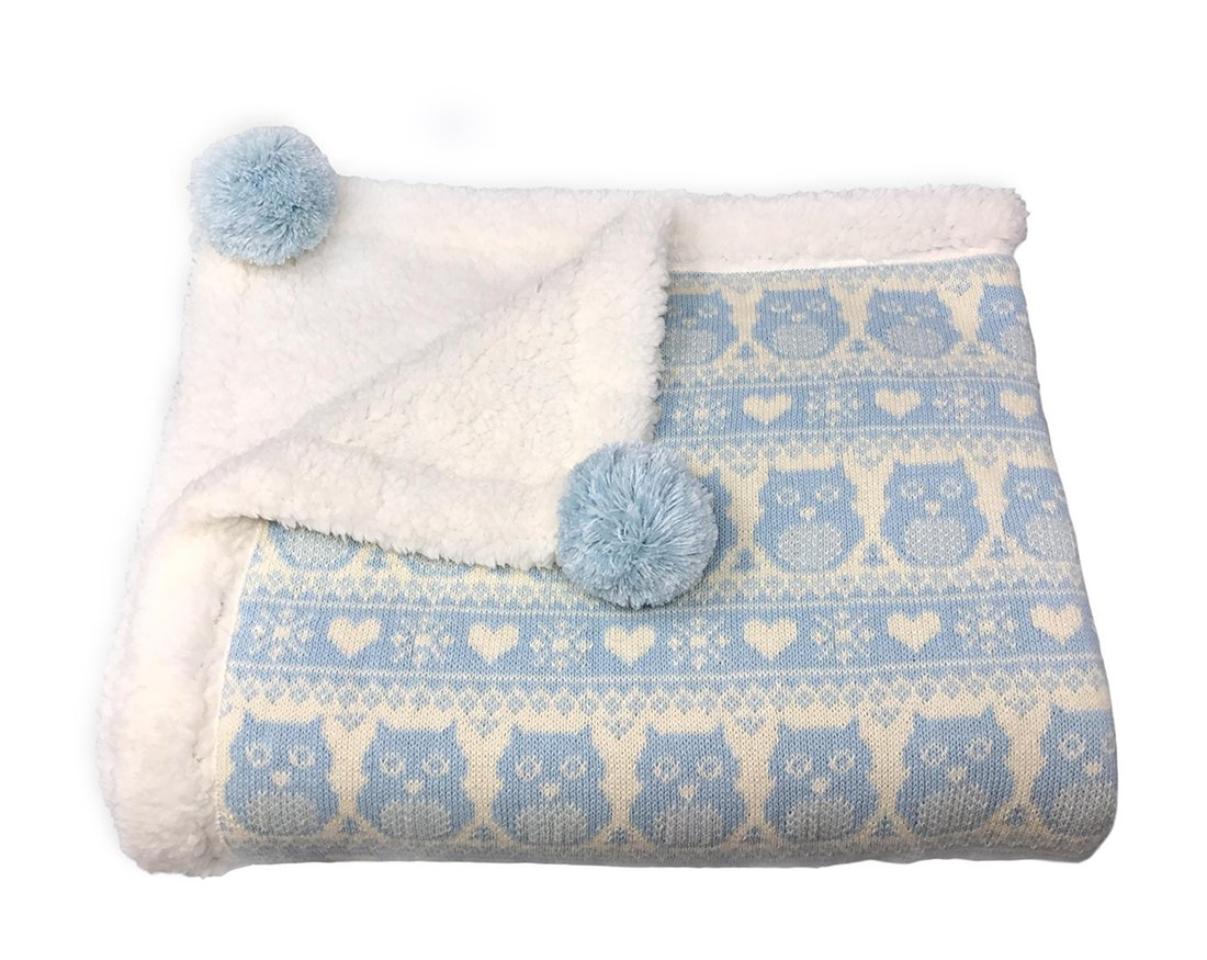 effe bebe Snow Owl Cotton Knit Sherpa Baby Blanket 30x40 (Grey) M&N International Group Inc. EB92616