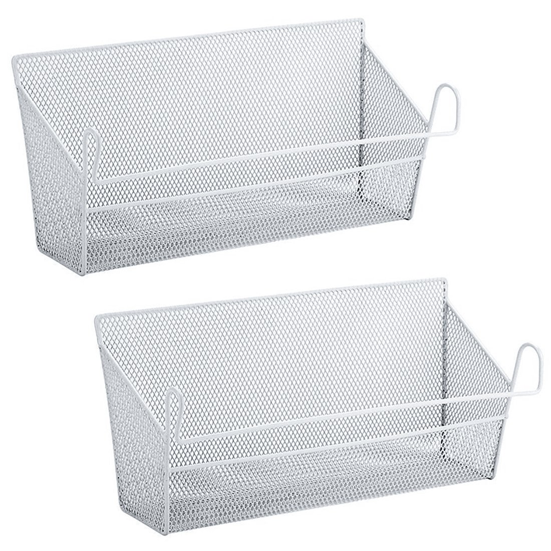 YIFAN 2Pack Dormitory Bedside Storage Baskets, Mesh Origanizer Caddy for Books Phones Drinks Office Home Table Hanging Organizer Desktop Corner Shelves (White) by YIFAN