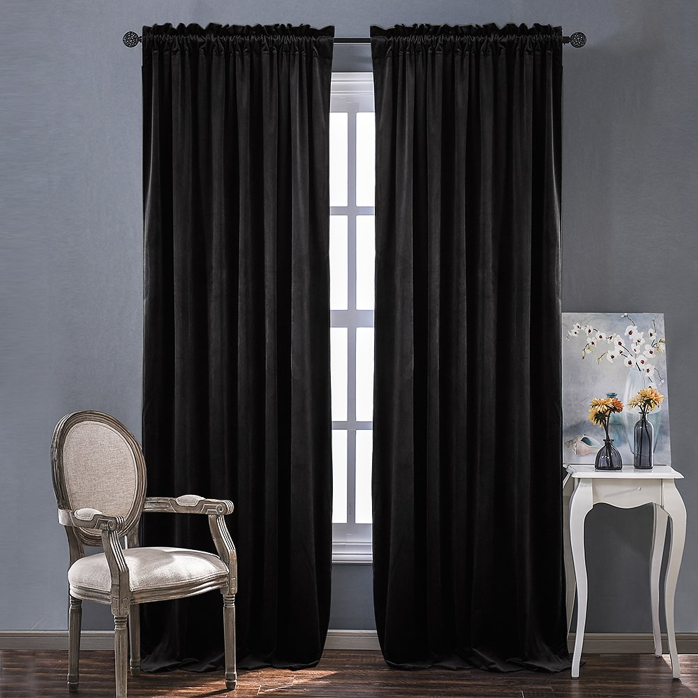 Bedroom Velvet Blackout Curtain Panels - Solid Heavy Matt Drapes / Window Treatments by NICETOWN Black