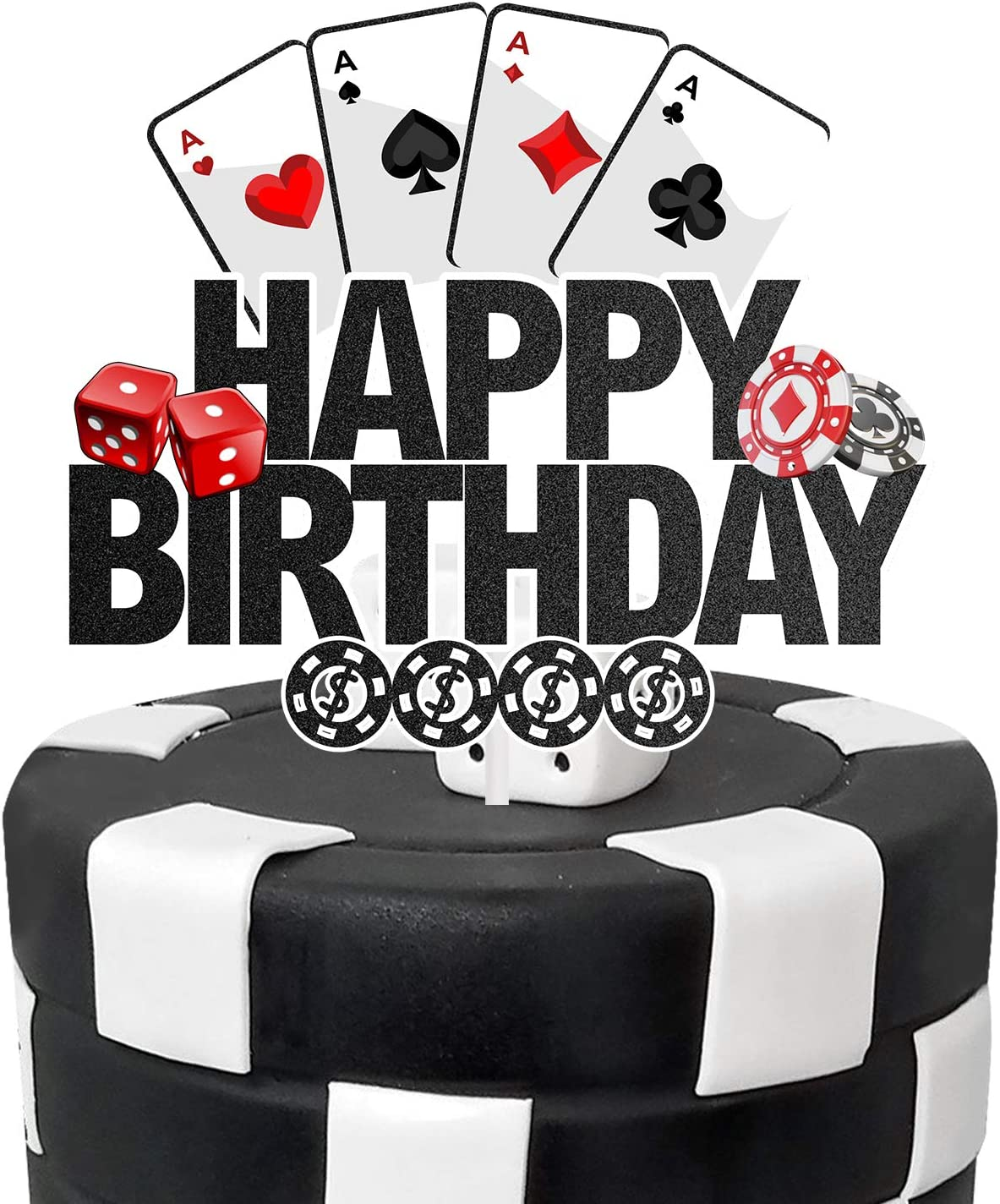 AERZETIX Poker Casino Cake Topper Birthday Vegas Gambling Themed Decor for Man Dad Adults Dice Sign Party Decorations Supplies
