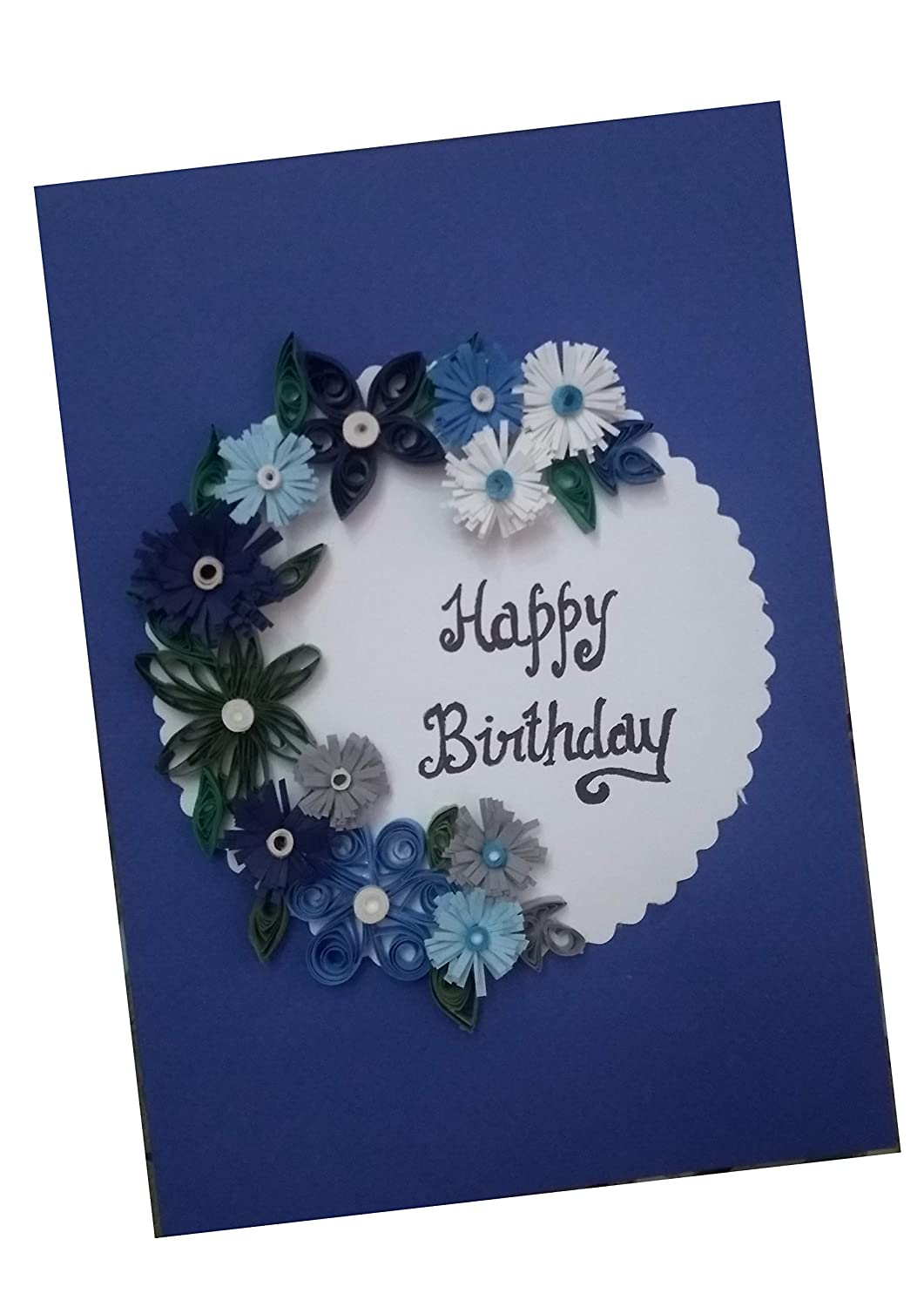 Tremendous Innover360 Handmade Quilling Birthday Greeting Card Blue Color Funny Birthday Cards Online Fluifree Goldxyz