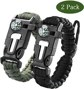 Paracaídas Supervivencia bracelet-survival Gear Kit con integrada brújula, iniciador de fuego, silbato de emergencia cuchillo & para niños hombres mujeres para senderismo Camping, canotaje emergencia actividades al aire libre, juego de 2,