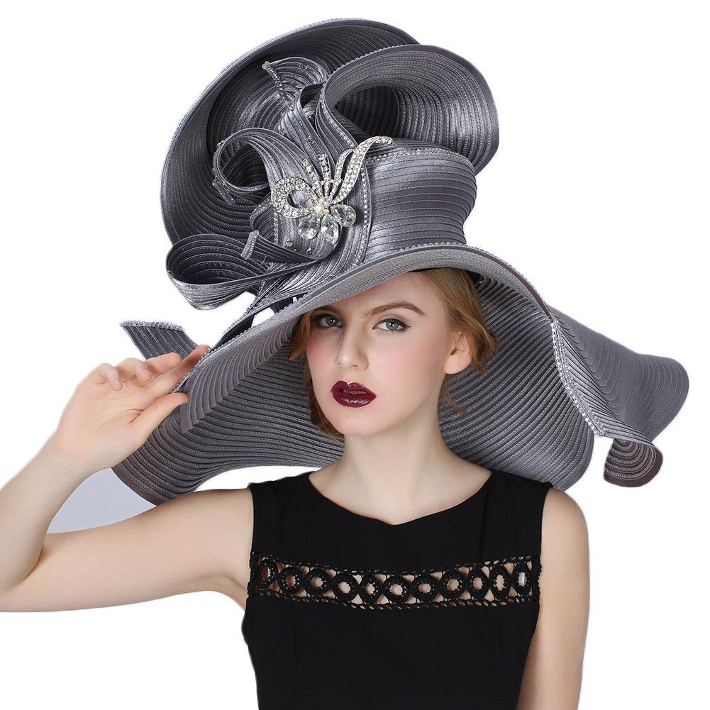 Silver Koola Women's Silvery Church Derby Hat Big Wide Brim Wedding Hat Tea Party Hat