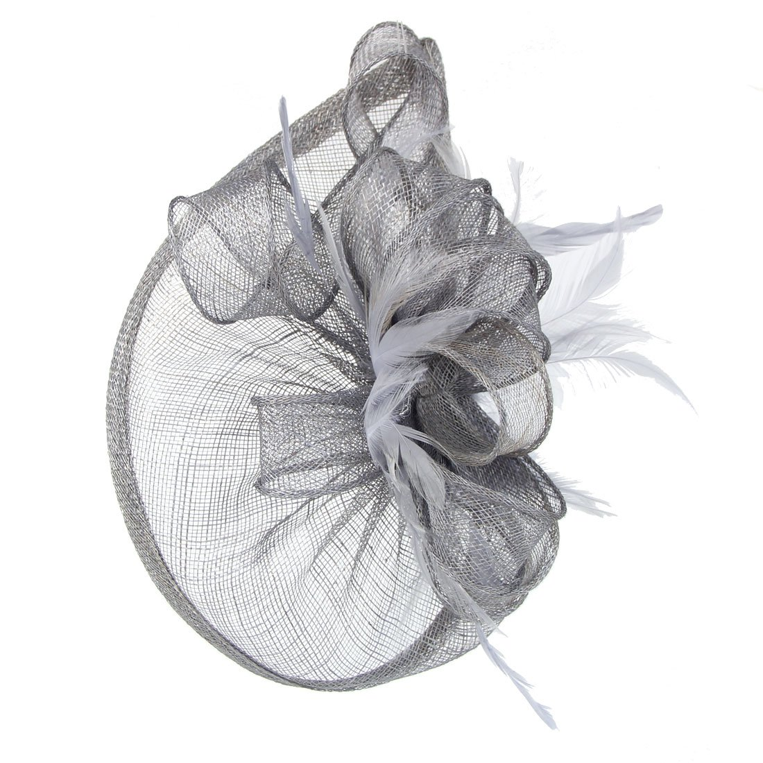 FeiYu Crafts Penny Mesh Hat Fascinator with Mesh Ribbons and Black Feathers (Gray)
