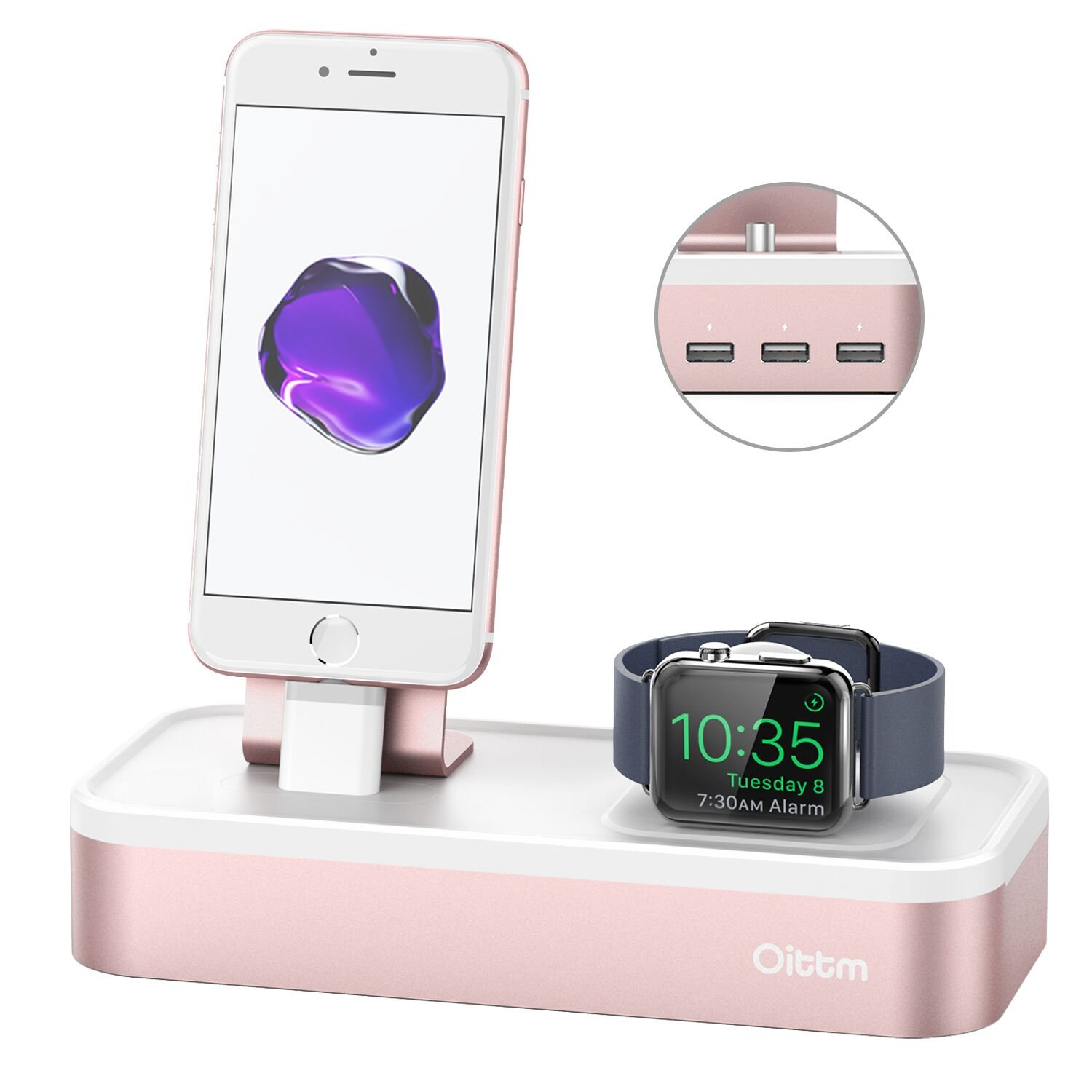Apple Watch Series 3 Stand, Oittm [5 in 1 New Version] 5-port USB Rechargeable Stand for iWatch Series 3/2/1, iPhone X, 8, 8 Plus, 7, 7 Plus, 6, iPad Mini, iPod, Apple Pencil (Rose Gold)