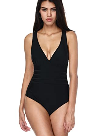 Attraco Ladies Fashion Swimming Costume Strappy One Piece Swimsuit V