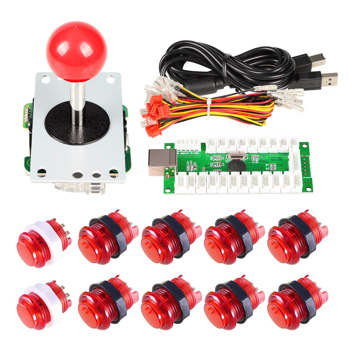 EG Starts Zero Delay USB Encoder To PC Games 5 Pin 8 Ways Sticker + 2x 24mm 5V Buttons + 8x 30mm LED Illuminated Push Button For Classic Arcade Joystick DIY Kits Part KOF Mame Raspberry Pi 2 3 Red Colors