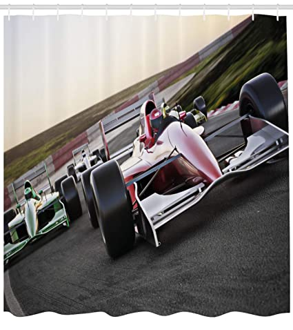 Lunarable Man Cave Shower Curtain Speeding Red Race Car Close Up Front View On Track