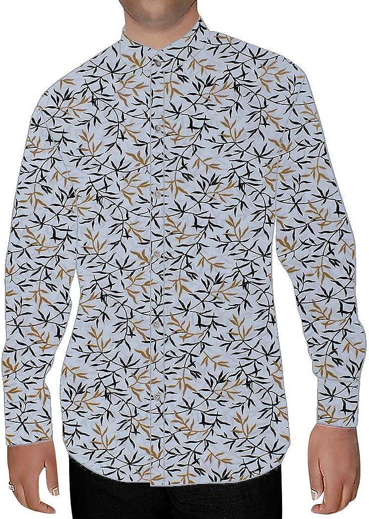 INMONARCH Mens Lavender Printed Cotton Nehru Shirt Partywear NSH14641XX-LARGE XX-Large Lavender