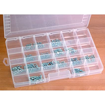 24 Compartment Storage Container Organizer Nuts Bolts Jewelry Coins Washers